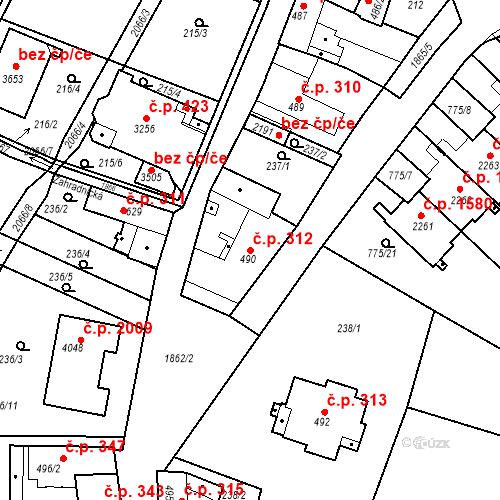 Katastrální mapa Stavební objekt Slaný 312, Slaný