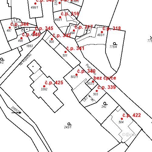 Katastrální mapa Stavební objekt Slaný 340, Slaný