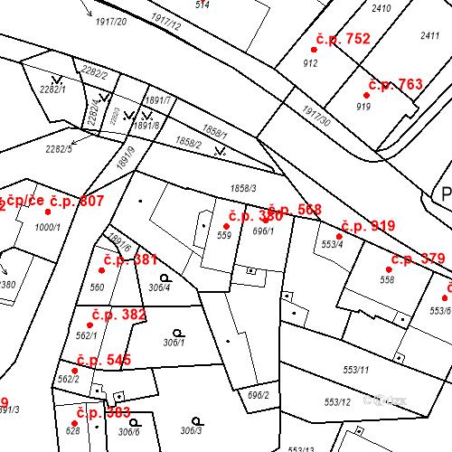 Katastrální mapa Stavební objekt Slaný 380, Slaný