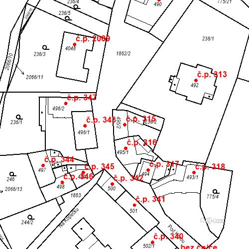 Katastrální mapa Stavební objekt Slaný 315, Slaný