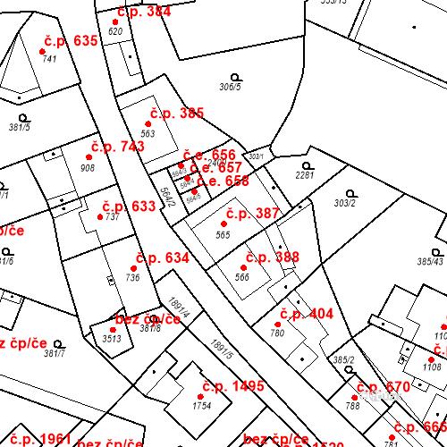 Katastrální mapa Stavební objekt Slaný 387, Slaný