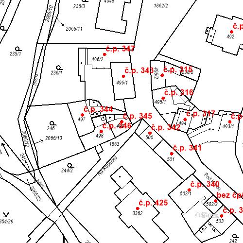 Katastrální mapa Stavební objekt Slaný 345, Slaný