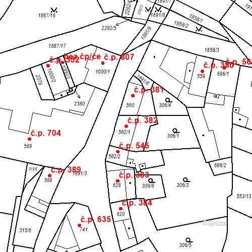 Katastrální mapa Stavební objekt Slaný 382, Slaný