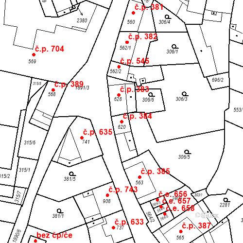 Katastrální mapa Stavební objekt Slaný 384, Slaný