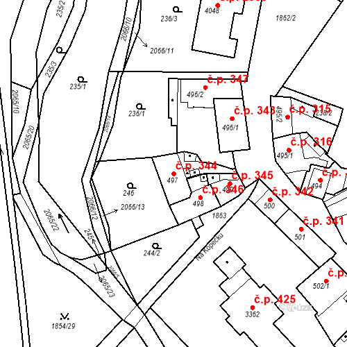 Katastrální mapa Stavební objekt Slaný 344, Slaný