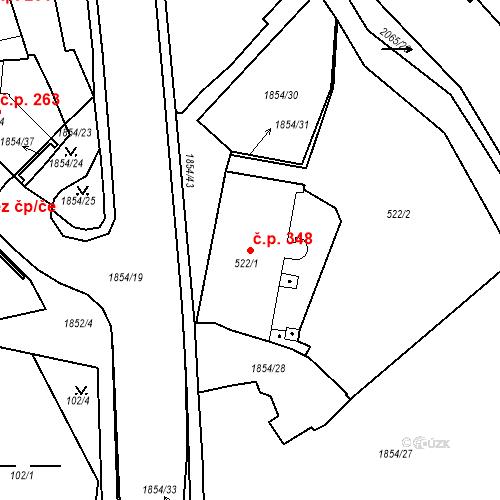 Katastrální mapa Stavební objekt Slaný 348, Slaný
