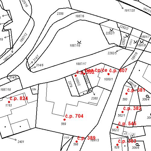 Katastrální mapa Stavební objekt Slaný 352, Slaný