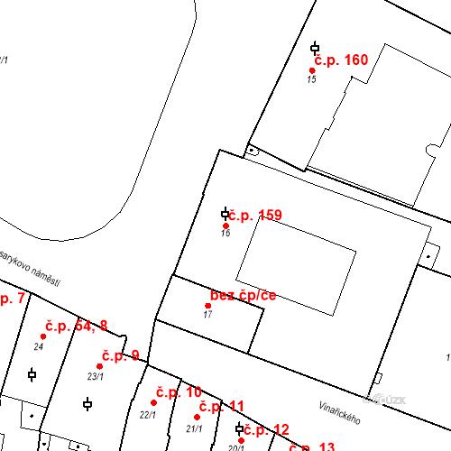 Katastrální mapa Stavební objekt Slaný 159, Slaný
