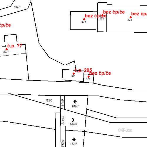 Katastrální mapa Stavební objekt Srbsko 205, Srbsko