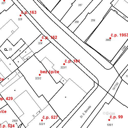 Katastrální mapa Stavební objekt Slaný 161, Slaný