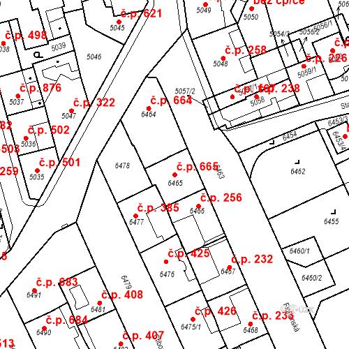 Katastrální mapa Stavební objekt Kladno 665, Kladno