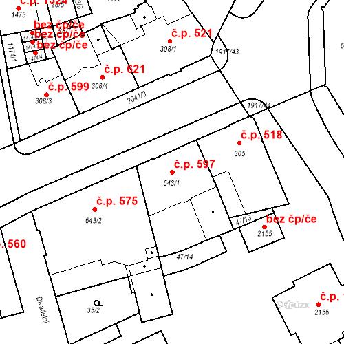 Katastrální mapa Stavební objekt Slaný 597, Slaný