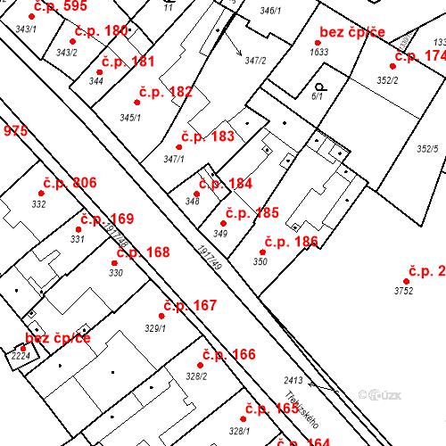Katastrální mapa Stavební objekt Slaný 185, Slaný