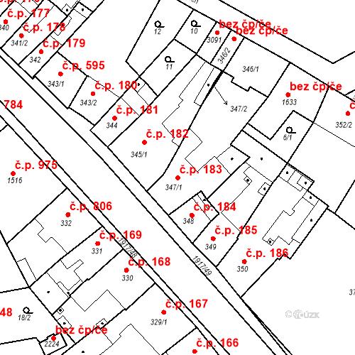 Katastrální mapa Stavební objekt Slaný 183, Slaný