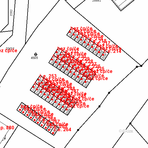 Katastrální mapa Stavební objekt Slaný 237, Slaný