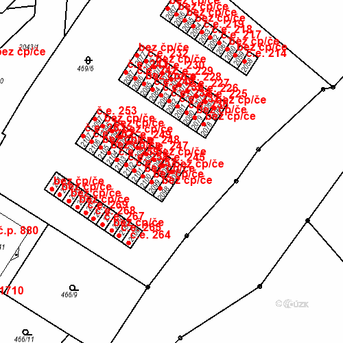 Katastrální mapa Stavební objekt Slaný 244, Slaný