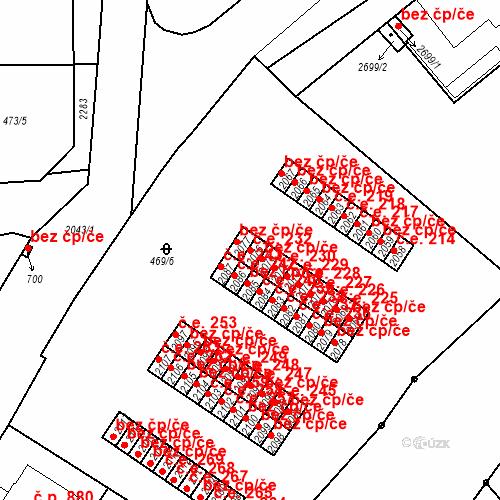 Katastrální mapa Stavební objekt Slaný 232, Slaný