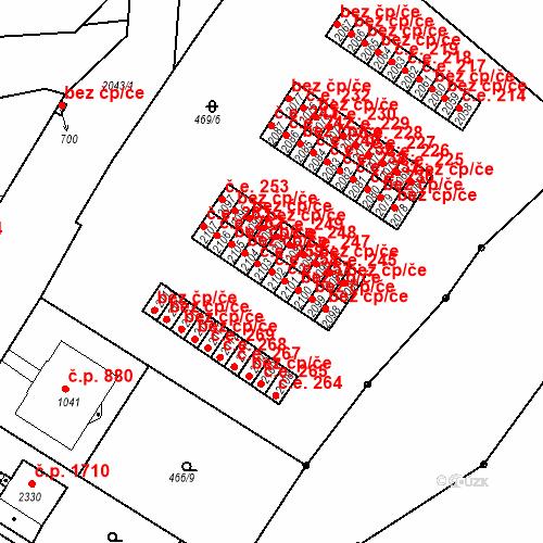 Katastrální mapa Stavební objekt Slaný 258, Slaný