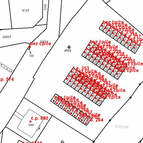 Katastrální mapa Stavební objekt Slaný 253, Slaný