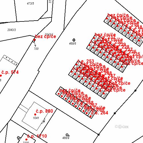 Katastrální mapa Stavební objekt Slaný 263, Slaný