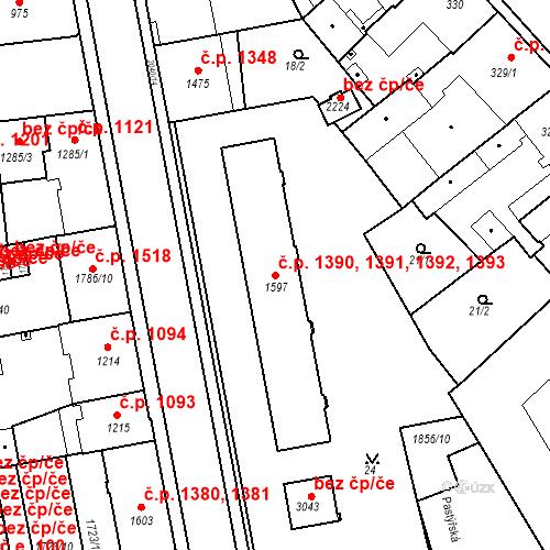 Katastrální mapa Stavební objekt Slaný 1390, 1391, 1392, 1393, Slaný