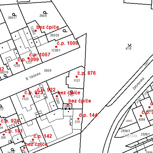 Katastrální mapa Stavební objekt Slaný 876, Slaný