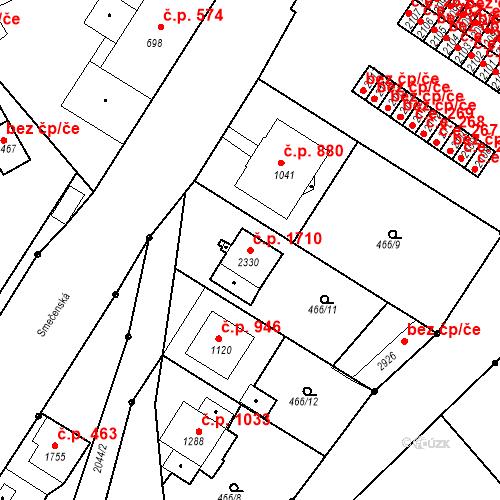 Katastrální mapa Stavební objekt Slaný 1710, Slaný