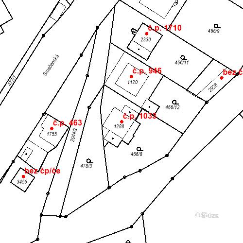 Katastrální mapa Stavební objekt Slaný 1033, Slaný