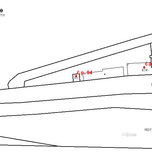 Katastrální mapa Stavební objekt Srbsko 94, Srbsko
