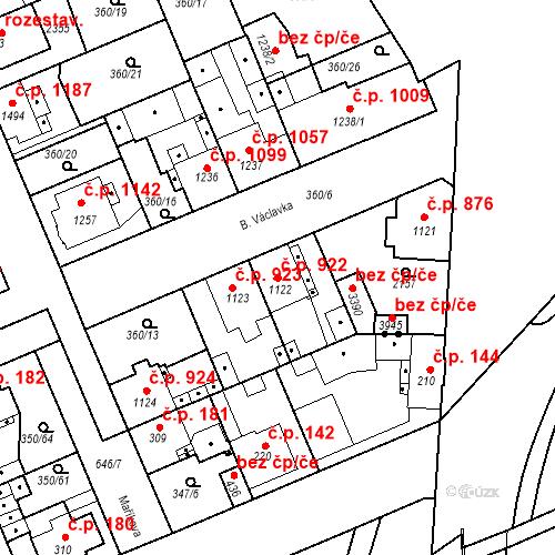 Katastrální mapa Stavební objekt Slaný 922, Slaný