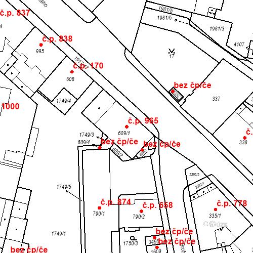 Katastrální mapa Stavební objekt Slaný 965, Slaný
