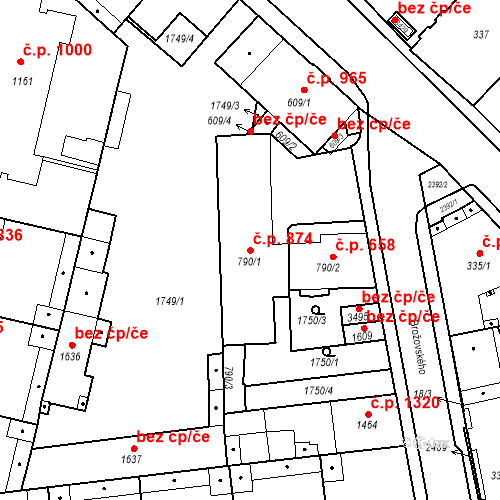 Katastrální mapa Stavební objekt Slaný 874, Slaný