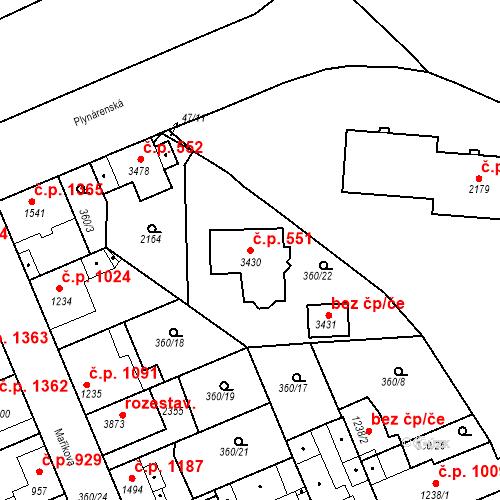 Katastrální mapa Stavební objekt Slaný 551, Slaný