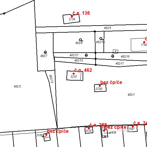 Katastrální mapa Stavební objekt Slaný 462, Slaný