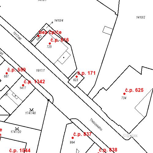 Katastrální mapa Stavební objekt Slaný 171, Slaný