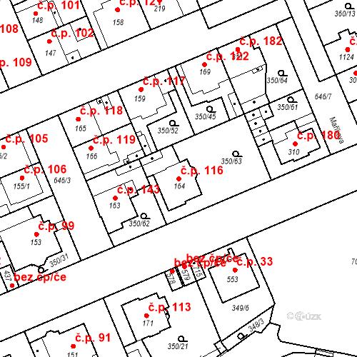 Katastrální mapa Stavební objekt Kvíček 116, Slaný
