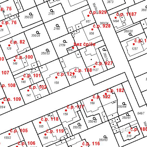 Katastrální mapa Stavební objekt Kvíček 138, Slaný