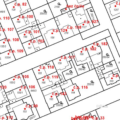 Katastrální mapa Stavební objekt Kvíček 117, Slaný