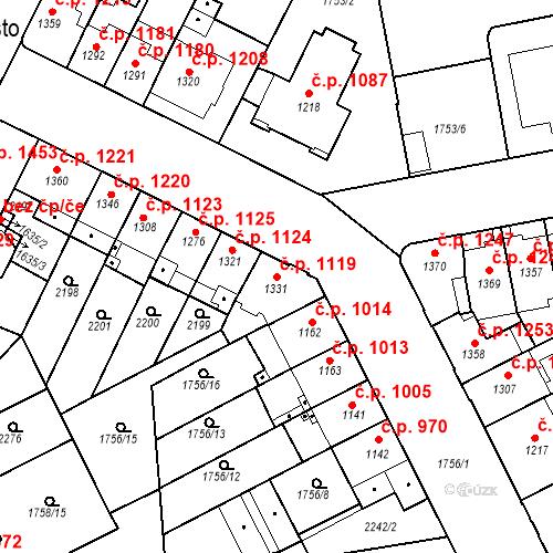Katastrální mapa Stavební objekt Slaný 1119, Slaný