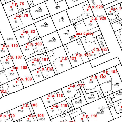 Katastrální mapa Stavební objekt Kvíček 121, Slaný