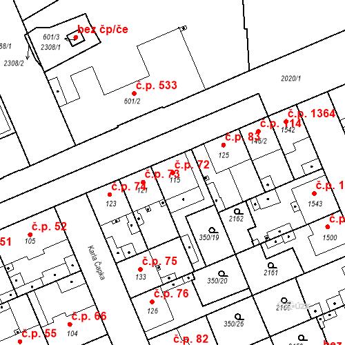Katastrální mapa Stavební objekt Kvíček 72, Slaný