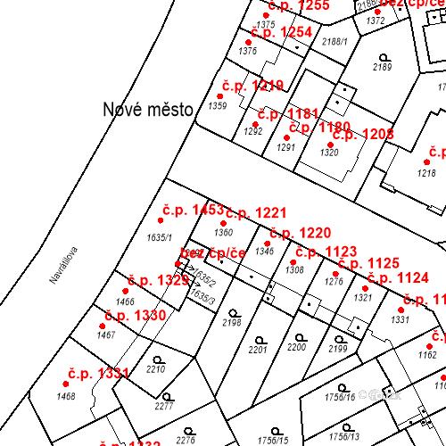 Katastrální mapa Stavební objekt Slaný 1221, Slaný