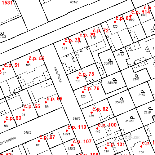 Katastrální mapa Stavební objekt Kvíček 75, Slaný