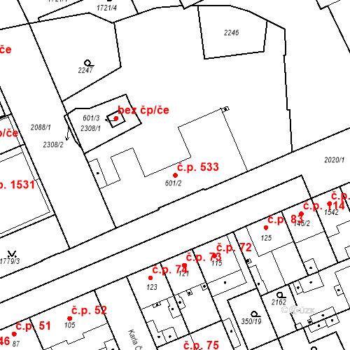 Katastrální mapa Stavební objekt Slaný 533, Slaný