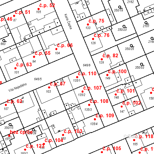 Katastrální mapa Stavební objekt Kvíček 110, Slaný