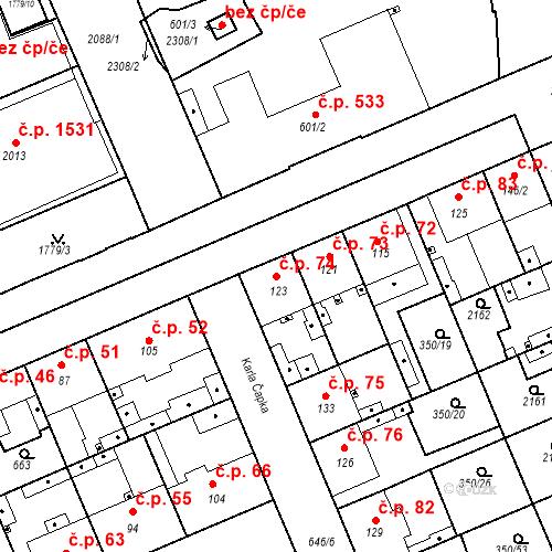 Katastrální mapa Stavební objekt Kvíček 74, Slaný