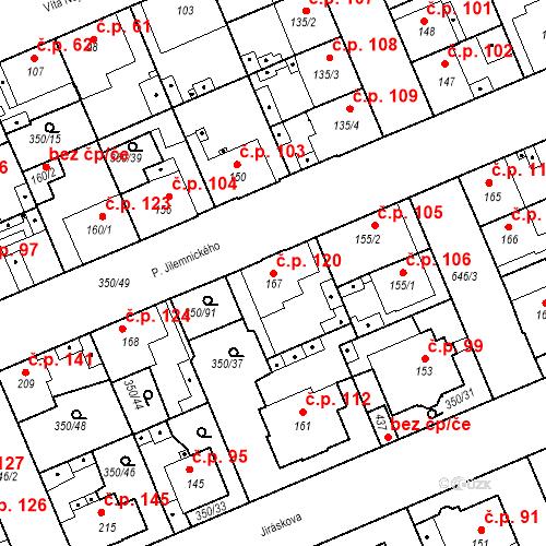 Katastrální mapa Stavební objekt Kvíček 120, Slaný