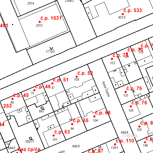Katastrální mapa Stavební objekt Kvíček 52, Slaný