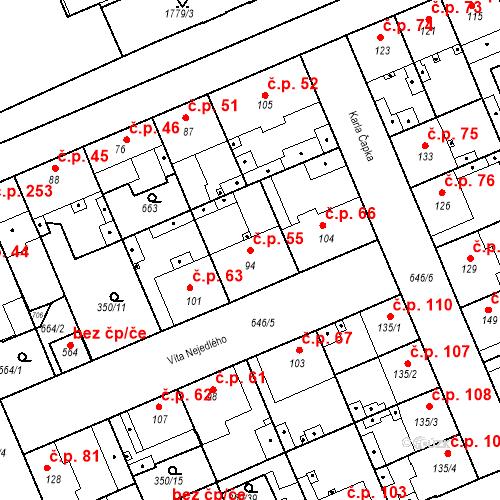 Katastrální mapa Stavební objekt Kvíček 55, Slaný