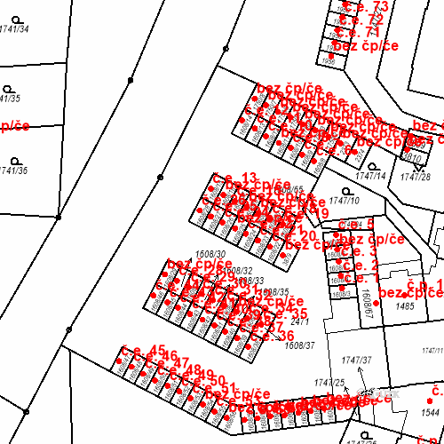 Katastrální mapa Stavební objekt Slaný 24, Slaný